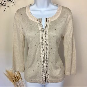 Studded sparkle gold cardigan. WHBM. Medium